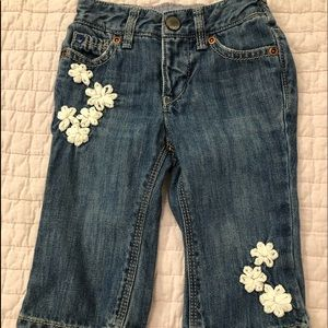 Baby gap infant jeans with flower designs